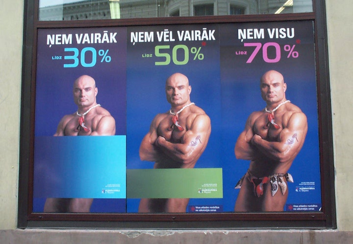 Gender Marketing im Handel: Rabattaktion in Lettland